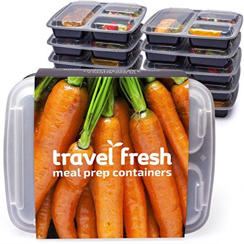 [10] Travel Fresh premium-Set di 3 scomparti, per preparazione di pasti contenitori per alimenti, con abbonamento di ricette, per microonde, impilabili, lavabile in lavastoviglie, senza BPA, contenitori bento per pranzo con coperchio e Piatto con divisori