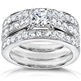1 1/3ct TW Round Brilliant Diamond Bridal Set in 14k White Gold (3 Piece Set) - Size 4.5