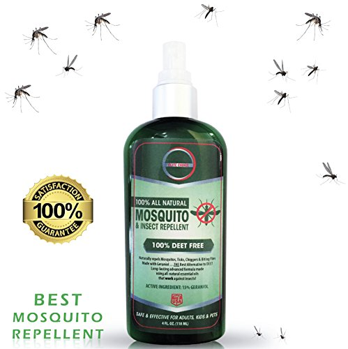 Best All Natural Mosquito Repellent - 4oz Travel Insect Repellent Proven to Repel all Types of Mosquitoes, Ticks and Biting Flies. 100% DEET Free Bug Spray is Safe for Kids, Pets and Family.