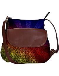 Snoogg Abstract Sun Rays Casual Spacious MultiPurpose Sling Bag Carry Around