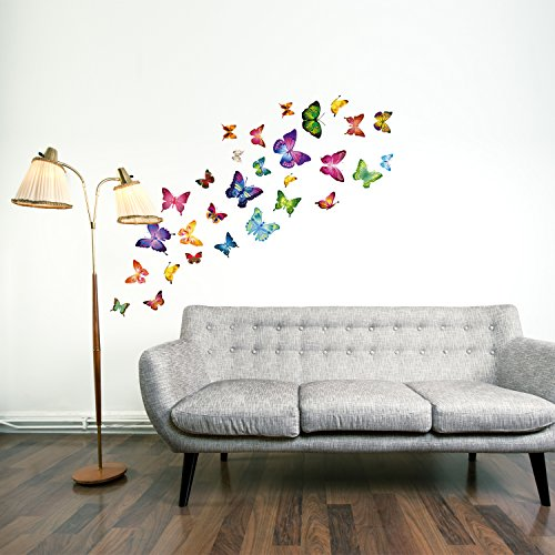 Walplus Butterflies Childrens Wall Stickers Mural Art Decor 28 Piece Mixed Colors