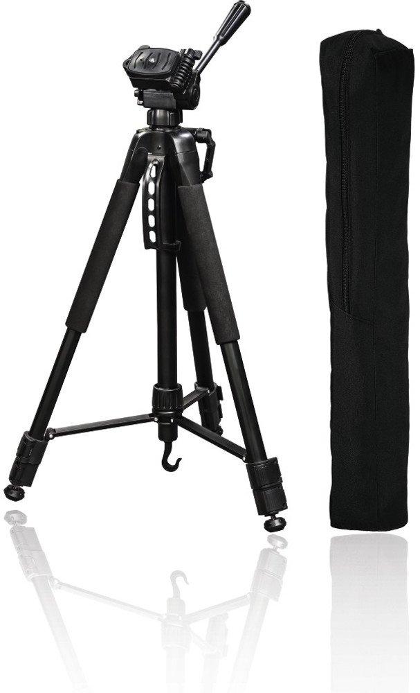 Hama Stativ Action 165 3D 3-Wege-Kopf (Gummifüße, Spikes, max. Belastbarkeit 4 kg, Gewicht 1320 g, 61-165 cm Höhe, inkl. Tragetasche) schwarz