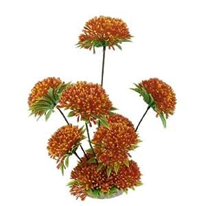 10Height Green Orange Artificial Grass Flowers Aquarium Decoration
