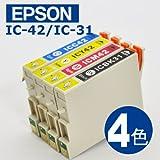エプソン(EPSON)対応 互換インク IC42/31(IC-42/31)系 3+1色セット プリンターインク インクカートリッジ