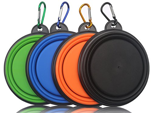 MIDWEC-Collapsible-Travel-Silicone-Portable-Pet-Food-Water-Bowl-with-Carabiner-BPA-Freeblack-orange-blue-and-green