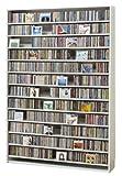 1668枚収納 CD屋さんのCD/DVDラック 幅139cm インデックスプレート20枚付き (ホワイト W)