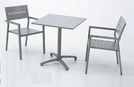 Conjunto aluminio lamas mesa plegable suez 70x70