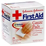 Johnson & Johnson First Aid Gauze Pads, Medium, 25 ct.