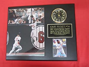 Kirby Puckett 1991 World Series Catch Collectors Clock Plaque w 8x10 Photo and Card by J & C Baseball Clubhouse