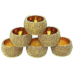 DakshCraft Golden Beaded Napkin Rings - Set of 6, Table Accessories Item & Perfect for Dining Decor - Dia - 1.5 inches