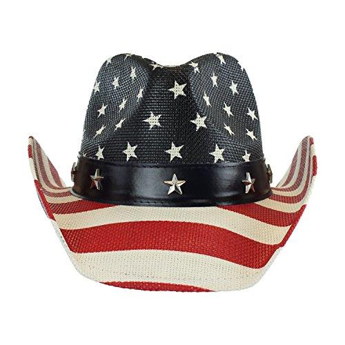 USA Shapeable Brim Cowboy Hat w/ Vegan Leather Stars & Stripes Band,  Patriotic