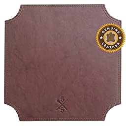 Sword & Scepter8482; Cowhide Leather Mouse Pad | Premium Mousepad for Executives and Gaming | Brown
