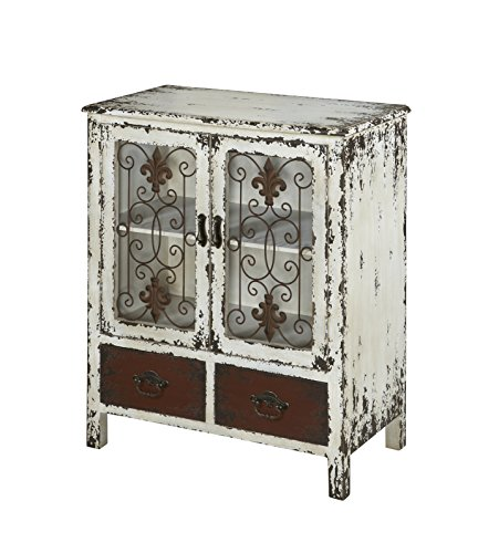 Powell Furniture Parcel 2-Door 2-Drawer Console, White Distressed White 2 Door Cabinet