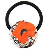 Orange Neon Poppy Mix Shade Printed Silk Screen Woven Fabric Covered Button Hair Elastic