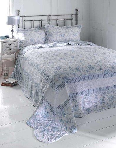 100% COTTON BEDDING - BLUE & WHITE DOUBLE BEDSPREAD THROW SET