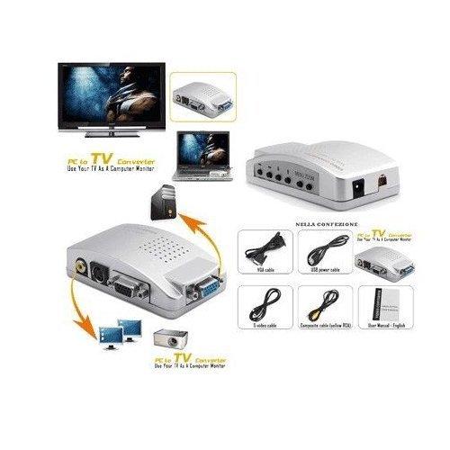Convertitore da VGA a RCA - È sufficiente collegarlo tra il PC / laptop e la tv - con adattatore SCART, cavo RCA, cavo S-Video, cavo VGA, cavo di alimentazione USB - Convertitore VGA a S-ideo - Per PC