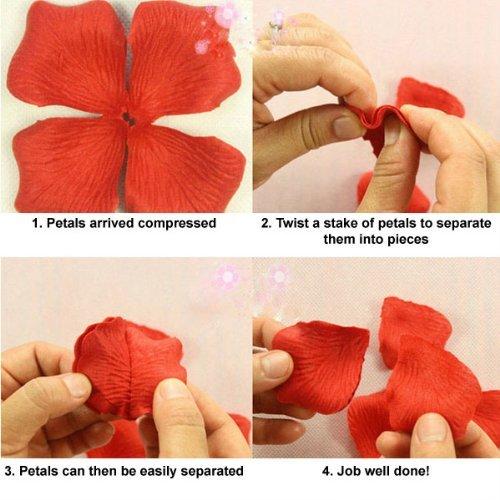 SODIAL(R) 500 PšŠtales De Rose En Soie De Couleur Rouge Confettis Pour Mariages Et Fšºtes