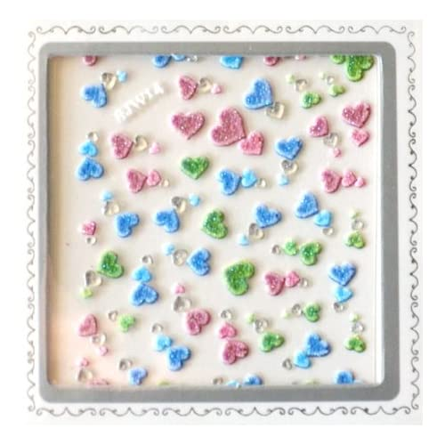 Colorful Hearts 3D Nail Art Glitter Sticker