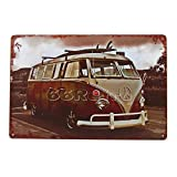 The Volkswagen Bus with Surf Board, Vintage Tin Sign, Wall Decor By 66retro
