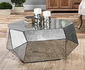 """36.25"""" Geometrical Free-Form Antiqued Mirror Decorative Coffee Table"""