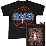 Rush '2112 Starman' 2-sided Black Lightweight 1976 Tour T-Shirt (Large)