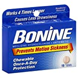 Bonine Meclizine Hydrochloride/Antiemetic, Tablets, Raspberry Flavored, 16 ct.