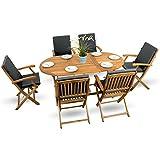 13-tlg-Gartenmbel-Essgarnitur-Set-Holzmbel-Gartenmbel-Sitzgruppe-Holz-Akazie-gelt-6x-Klappstuhl-1x-Klapptisch-6x-Sitz-Auflagen-anthrazit