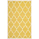 Safavieh Cambridge Collection CAM134Q Handmade Gold and Ivory Wool Area Rug, 5 feet by 8 feet (5' x 8')