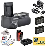 Professional Vertical Battery Grip With Sure Grip Technology For the Canon EOS Rebel T3 T5 1100D 1200D Kiss X50 Digital SLR Cameras Includes 2 Extended Life Canon LP-E10 LPE10 Replacement Battery Packs (2000MAH Each 4000MAH in Total) + 1 hour AC/DC Dual Battery Rapid Charger + Deluxe Lens Cleaning Kit + LCD Screen Potectors + Mini Tripod + 47stphoto Microfiber Cloth + $50 Photo Print Gift Card!