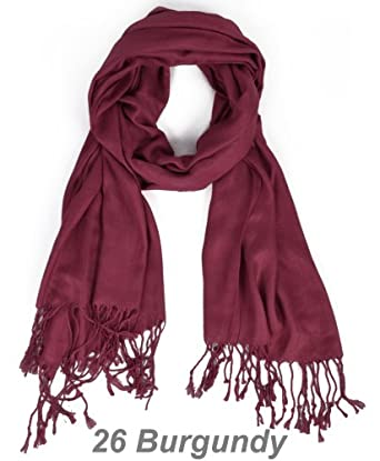 Hollywood Solid Pashmina Scarf, Burgundy