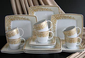 victoria gold kaffee service 18 teilig neu eckig porzellan geschirr set 6 personen coffeeservice. Black Bedroom Furniture Sets. Home Design Ideas