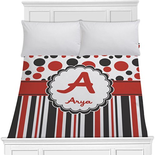 Red & Black Dots & Stripes Duvet Cover (Personalized) - Toddler front-974918