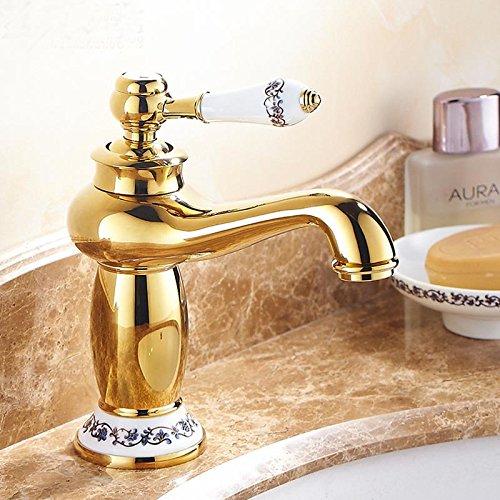 QUEEN'S Continental Golden Rubinetto acqua calda e fredda in rame rubinetto bagno vanità inasprimento dorato porcellana Antico rubinetto