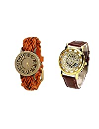COSMIC COUPLE WATCH- BROWNISHORANGE DESIGNER ANALOG WATCH FOR WOMEN AND BROWN SKELETON WATCH FOR MEN- PACK OF 2
