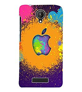 Fuson 3D Printed Multicolour Apple Designer Back Case Cover for Micromax Canvas Spark Q380 - D1089