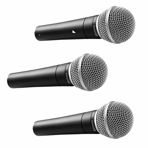 Shure Sm58-Lc Vocal Stage Pro Dynamic Microphones Three-Mic-Pack (3) Sm-58