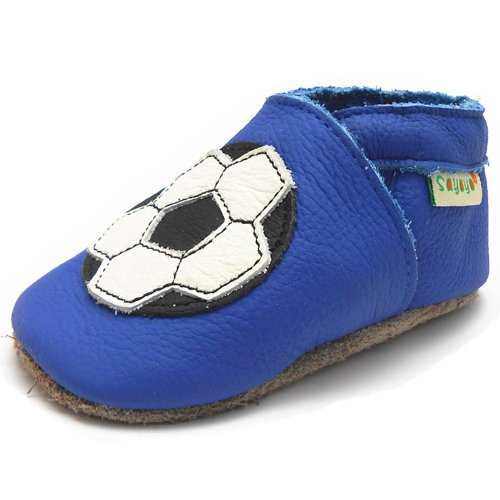 Sayoyo Baby Football Soft Sole Blue Leather Infant And Toddler Shoes 12-18Months front-29134