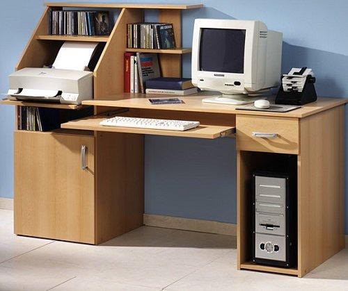 6-6-7-1481: made in BRD – PC-Tisch – Buche dekor – moderner Schreibtisch mit Druckerablage – Bürotisch bestellen