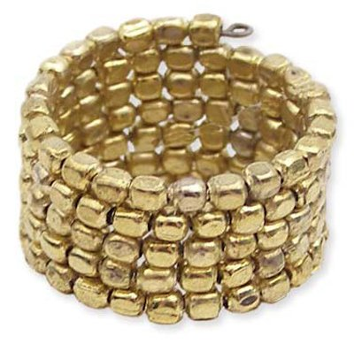 Three Line Metal Seed Beed Coil Ring-Gold
