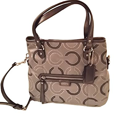 Coach Women's F29123 Daisy Dot Outline Signature Metallic Mia Crossbody Bag, Silver/Grey, One Size