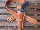 Natural Leather .22 Caliber Gun Belt and Left Handed Tooled Holster Combination