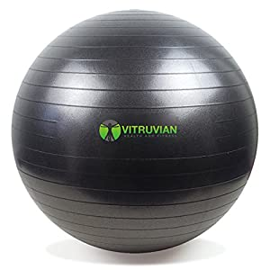 Exercise ball - 65cm Black Swiss balance ball for home workouts - FREE Premium Air Pump and Wall Poster included - Pilates, Yoga, Abs, Full Body Workout - Use as a Desk Chair for Improved Posture and Core Strength with No Extra Effort