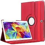 """Bingsale 360° Housse en cuir pour Tablette tactile Samsung Galaxy Tab S 10,5"""" SM-T800 SM-T805 avec rabat/stand de positionnement support et le sort de veille (samsung galaxy tab s 10.5, rouge)"""