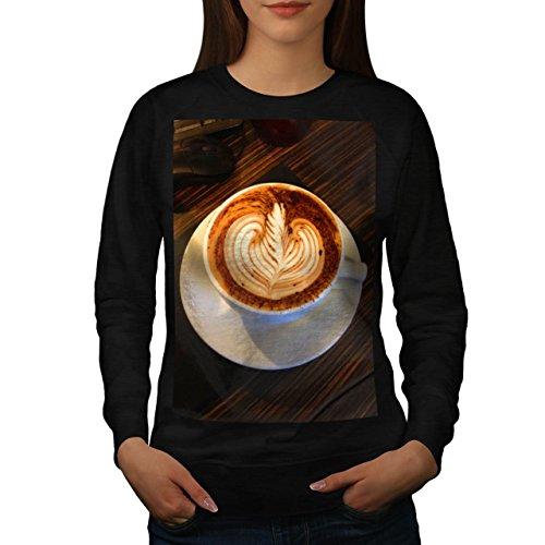 Cup Of Coffee Latte Art Women NEW Black L Sweatshirt | Wellcoda