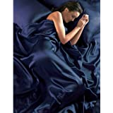 NAVY BLUE Satin Super King Bed Duvet Cover & Fitted Sheet Setby Beamfeature