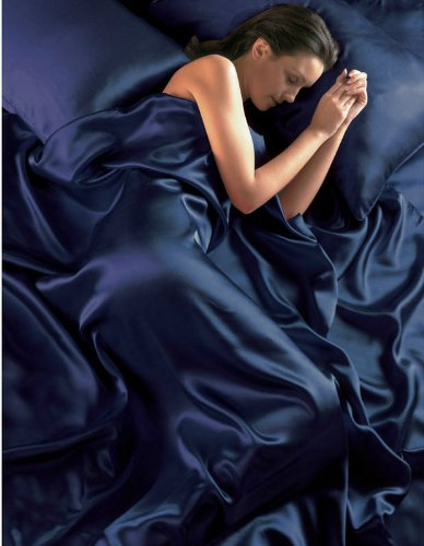 NAVY BLUE Satin King Size Bed Duvet Cover & Fitted Sheet Set