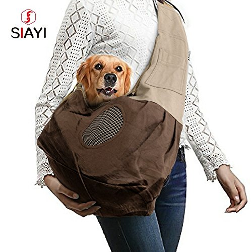 SIAYI Cotton Outdoor Carrier Sling Portable Pet Shoulder Bag with Built-in Hook for Dogs, Cats (Brown)