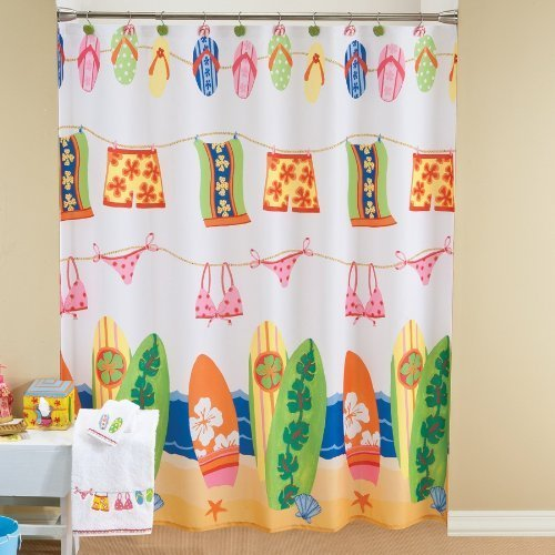 Bathroom Window Curtains Surfboard Bathing Suit Flip Flop