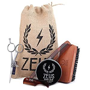 buy zeus beard styling kit for men complete beard gift pack for trimming brushing and shaping. Black Bedroom Furniture Sets. Home Design Ideas