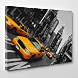 CANVAS MODERN PAINTING - NY NEW YORK - YELLOW TAXI Design America USA - 20x28'' (50x70cm) - Thickness 2cm (cod.009)